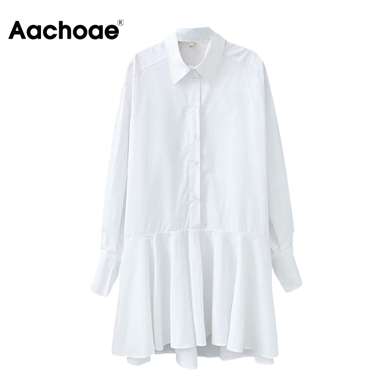 Aachoae Women White Shirt Mini Dress Turn Down Collar Long Sleeve Office Lady Pleated Dress Cotton Casual Loose Dress Vestidos