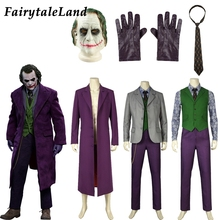 """Бэтмен Джокер Косплей Костюм для взрослых на Хеллоуин костюмы для мужчин джокер из """"Темного рыцаря"""" куртка жилет с маской костюм Косплей Аксессуары"""