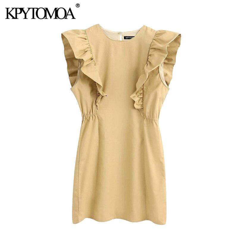 KPYTOMOA Women 2020 Elegant Fashion Ruffled Mini Dress Vintage O Neck Sleeveless Female Dresses Chic Vestidos Mujer