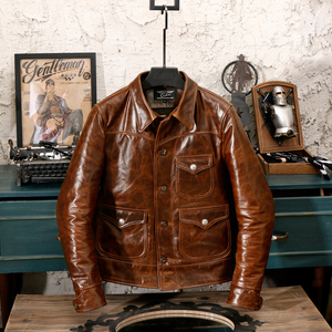 Image 2 - YR!Free shipping.Brand new classic casual style oil cowhide jacket,man slim oil genuine leather coat,vintage winter warm coat.RL