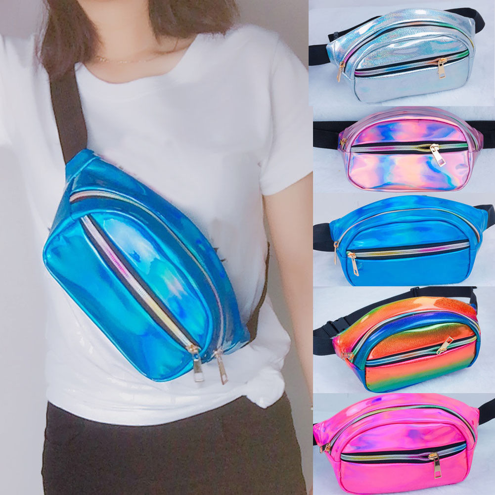 Women Ladies Men Clear Glitter Fanny Pack Waist Money Belt Zip Hiking Pouch Wallet Travel Bag Running Sport Bum Bag 6 Colors