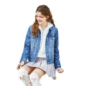 Image 2 - をセミール 100% 綿ショートデニムジャケットの女性の襟ガールボーイフレンドデニムジャケット胸ポケット傾斜ポケットシックなスタイル