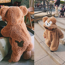 Для маленьких девочек, одежда 2 Цвета милый плюшевый медведь, детский комбинезончик, удобные, сохраняющие тепло, с капюшоном и на молнии для ...