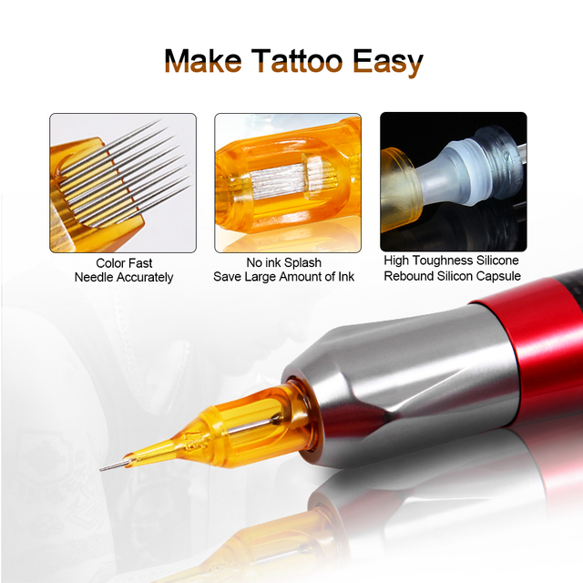 10PCS Tattoo Cartridges Needle RL RS M1 RM tattoo needles For Permanent Makeup Eyebrow Tattoo Machine agujas cartrige  Yellow 3