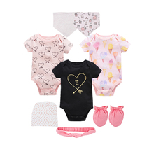 8Pcs Kavkas New Baby Girl Bodysuits Sets Cartoon Newborn Boy Jumpsuit Overalls Macaron Infant Bebe Coveralls for Gift