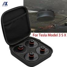 4Pcs Auto Gummi Hebe Jack Pad Adapter Werkzeug Chassis W/Lagerung Fall Geeignet Für Tesla Modell 3 Modell S Modell X Auto Zubehör