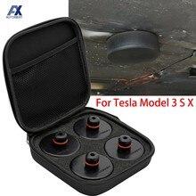 4 pçs carro de borracha levantamento jack almofada adaptador ferramenta chassi com caso armazenamento adequado para tesla modelo 3 modelo s modelo x acessórios do carro