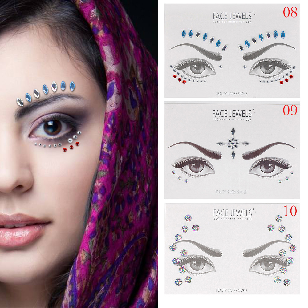 1PC Bohemia Tribal Style Acrylic Resin Drill Stick Bindi  Handpicked Face Eye Jewels Forehead Stage Decor Decoration Sticker