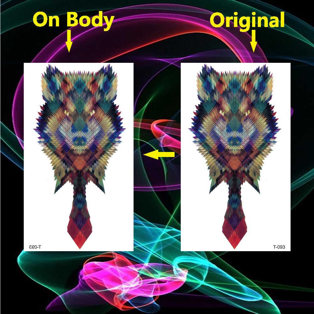 Tatuaje impermeable corporativo Lobo tatuajes temporales calcomanías Animal tatuaje falso mujeres Menl cuerpo brazo mano arte Flash tatuaje