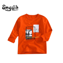 Smgslib boys clothes T-shirts Kids Print T Shirt For Children Summer Long Sleeve T-shirt Cotton Clothing clothes graphic t shirt floral and graphic print buttons henley t shirt