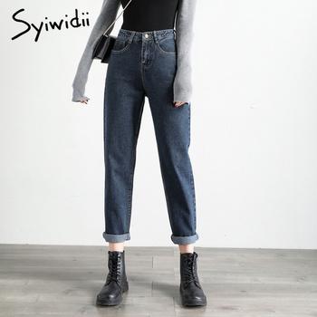 Szary niebieski wysokiej talii dżinsy kobieta styl uliczny bawełniane dżinsy dla mamy nie stretch plus rozmiar kobiet dżinsy typu boyfriend vintage harem pants tanie i dobre opinie syiwidii COTTON Poliester Kostki długości spodnie CN (pochodzenie) Osób w wieku 18-35 lat women jeans Streetwear Stripe