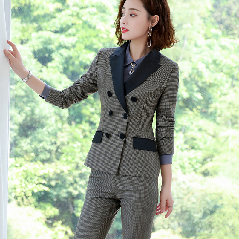 Lenshin High-quality 2 Piece Set Houndstooth Formal Pant Suit Blazer Office Lady Design Women Soft Jacket and Full-Length Pant 25