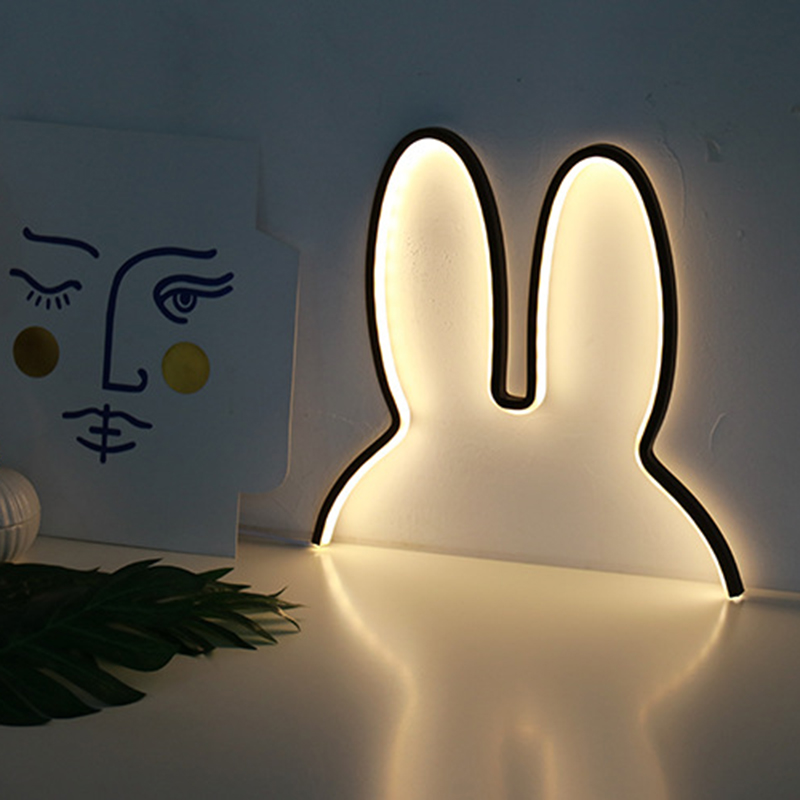 Ins Miffy Rabbit Night Light For Children Cute Animal LED Night Lamp Kids Baby Beside Table For Bedroom Nightlight Holiday Gifts