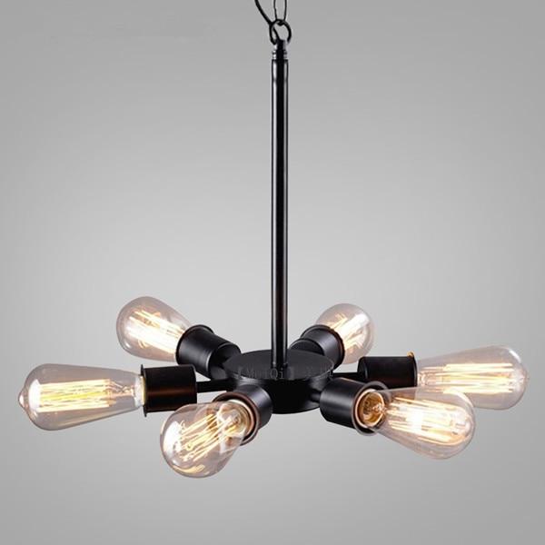 Loft American Vintage Black Iron Industrial Wind Pendant Light Study Restaurant Bar Cafe Living Room Lamps Luminaria