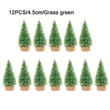 12-Piece Mini Christmas Tree Sisal Silk Cedar - Decoration Small Gold Silver Blue Green White