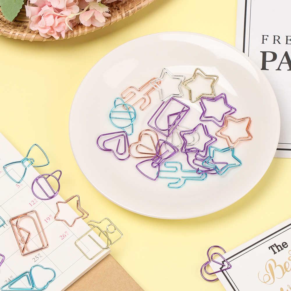 10 unids/bolsa Clip de papel hueco de dibujos animados con forma de diamante marcador Clip de papel amor Cactus helado Color Metal carpeta Memo clips