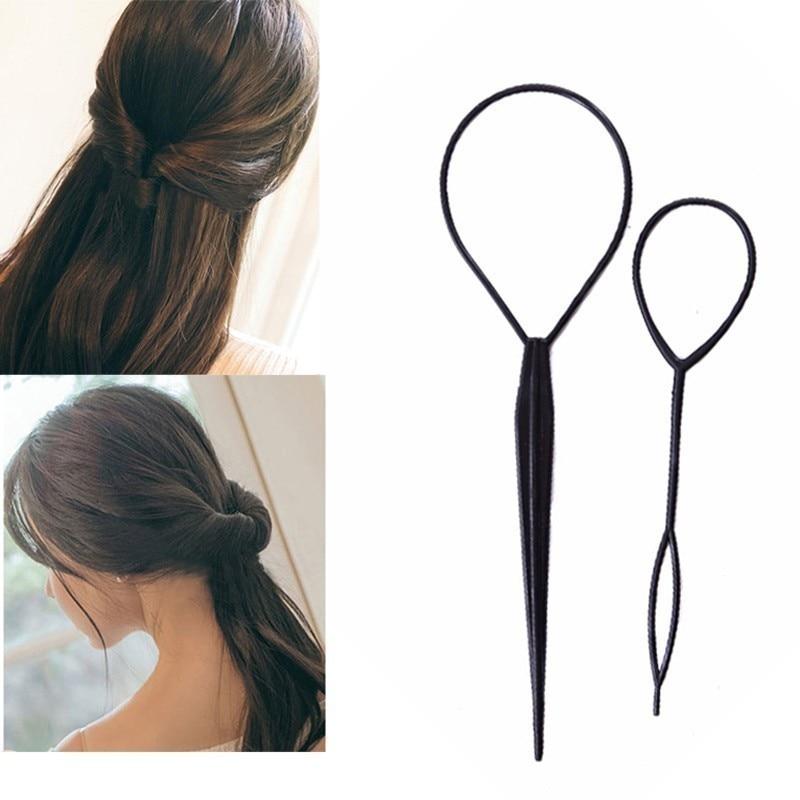 2pcs Braiders Tools DIY Magic Hair Curler Needle Ponytail Tool Styling Set