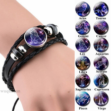 12 Zodiac Signs Constellations Black Button Woven Leather Bracelet Glass Dome Jewelry Men Aries Libra Libra Leo Birthday Gift