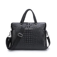 Laptop Business Briefcase Crocodile Genuine Leather Men Handbag 14 Inches Men's Notebook Computer Portable Office Bag