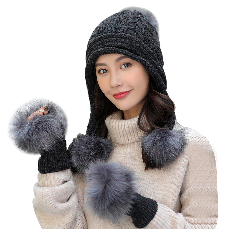 Faux Fur Gloves Winter Hats For Women Solid Plus Velvet Thick Bonnet Fashion Ladies Pompom Knit Beanie Warm Soft Skullies Set