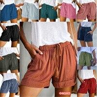 Pantalones cortos informales para mujer, shorts sencillos con bolsillos y cordón, cintura elástica, holgados, a la moda de hogar, 12 colores