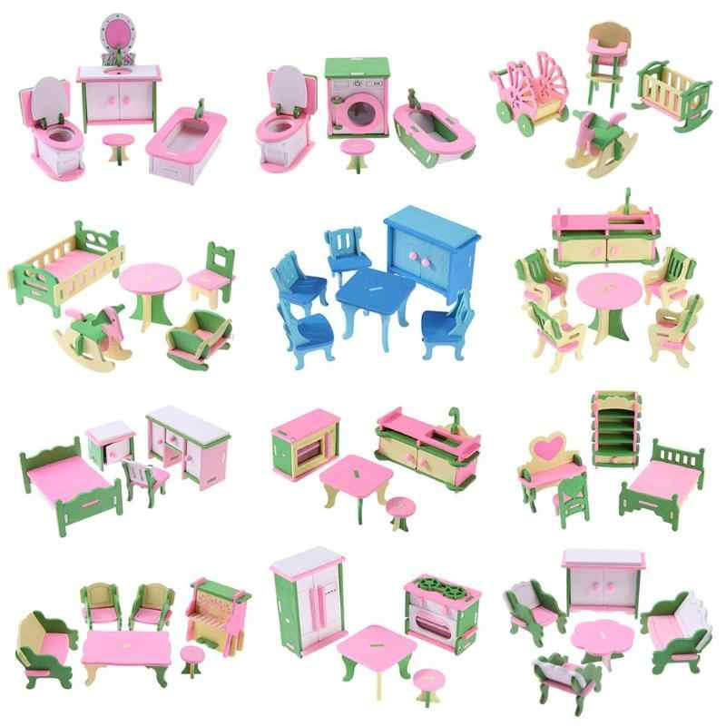 Wooden Miniature Dollhouse Simulation Furniture Set Kids Educational Toys