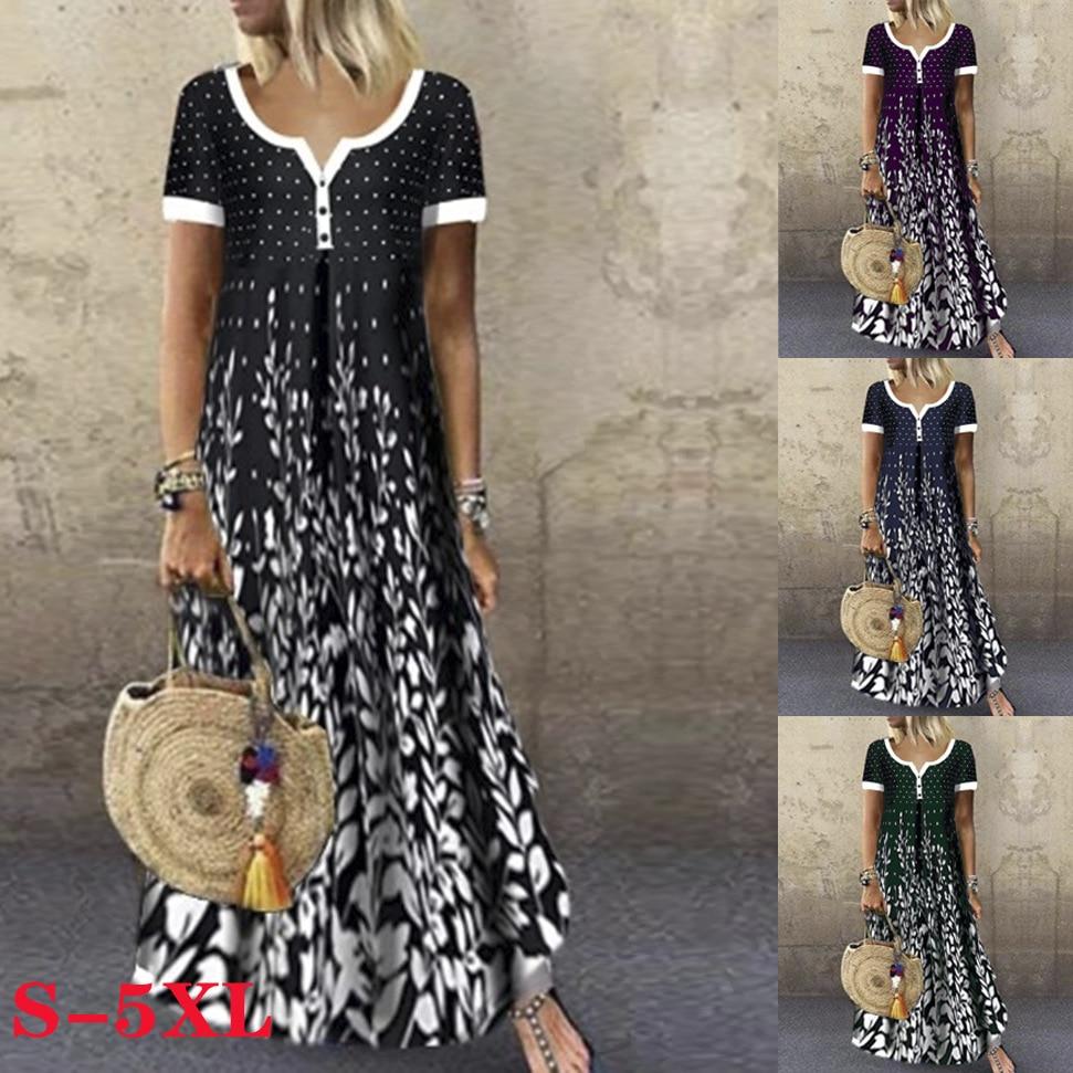Весенне летнее повседневное женское платье с v образным вырезом и коротким рукавом Свободное длинное платье на пуговицах  хлопковое платье макси размера плюс женская одежда Vestidos Платья      АлиЭкспресс