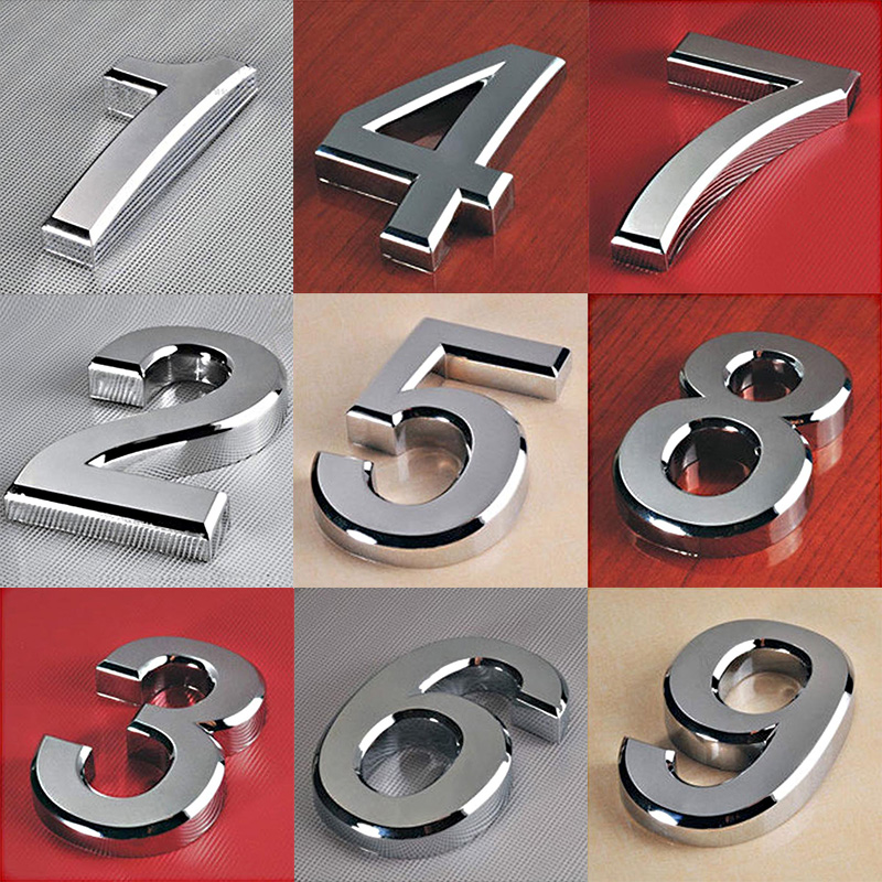 1PC Fashion Plated Home Decor Address Scutcheon Digits Hotel Door Sticker Plate Sign House Number Plaque 5cm Silver Modern image
