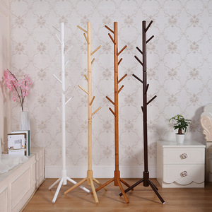 Image 5 - 175cm Wood Clothes Hanger with Assembly 8 Hooks Collapsible Floor Standing Coat/Hat Racks Entrance Hall/Bedroom Clothes Rack