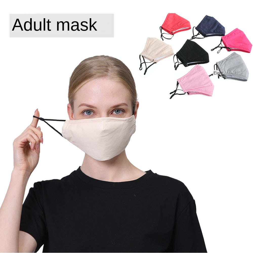 1/2/5pcs/lot Solid Color PM2.5 Dust Adult Mask With Activated Carbon Filters Fog Haze Cotton Masks Breathable Outdoor Masks