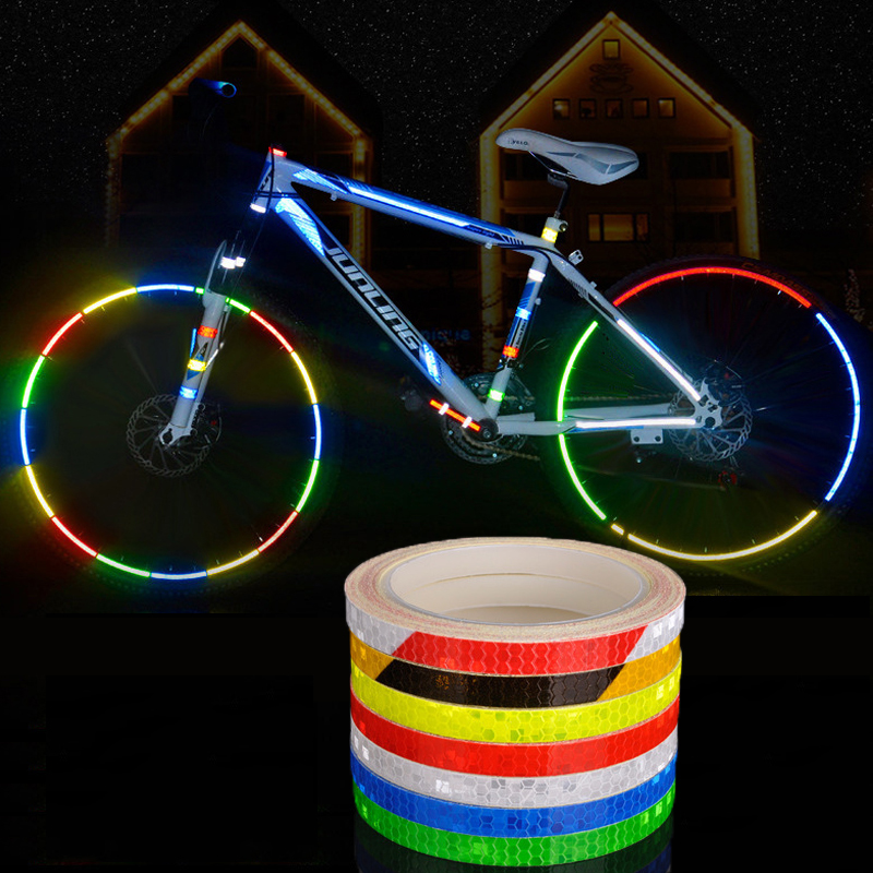 Reflective Stickers Strip Bicycle Wheel Reflective Tape Sticker Wheel Reflector Bike Cycling Security Wheel Rim Fluorescent Tape