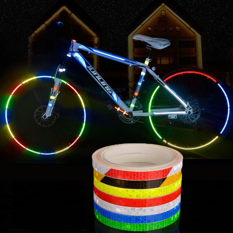 Reflective Stickers Strip Bicycle Wheel Reflective Tape Sticker Wheel Reflector Bike Cycling Security Wheel Rim Fluorescent Tape
