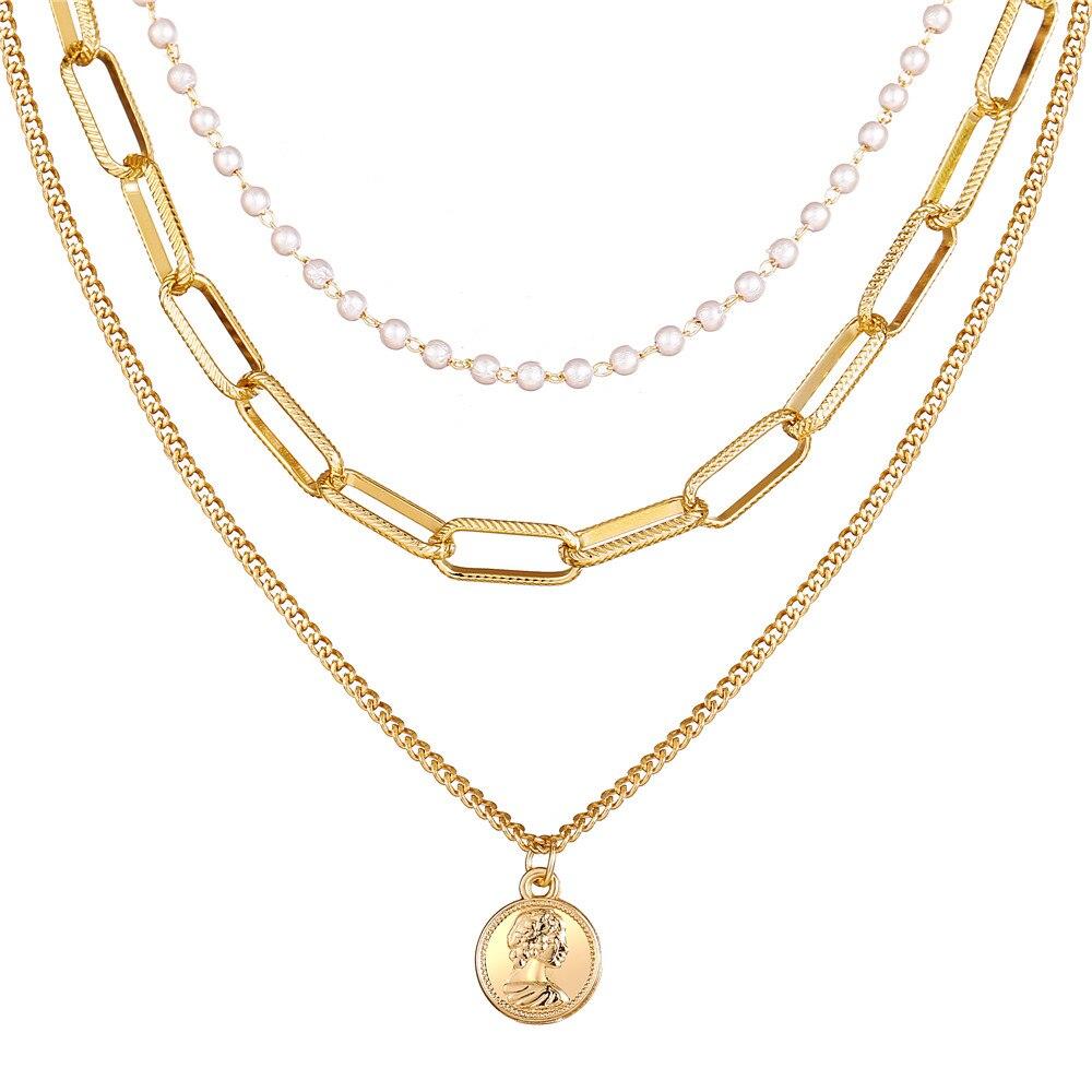 17 км винтажная Золотая монета с портретом, жемчужное ожерелье с подвеской s для женщин, богемное Модное Длинное Ожерелье из муклтилятора с жемчугом, ювелирное изделие - Окраска металла: CS5252