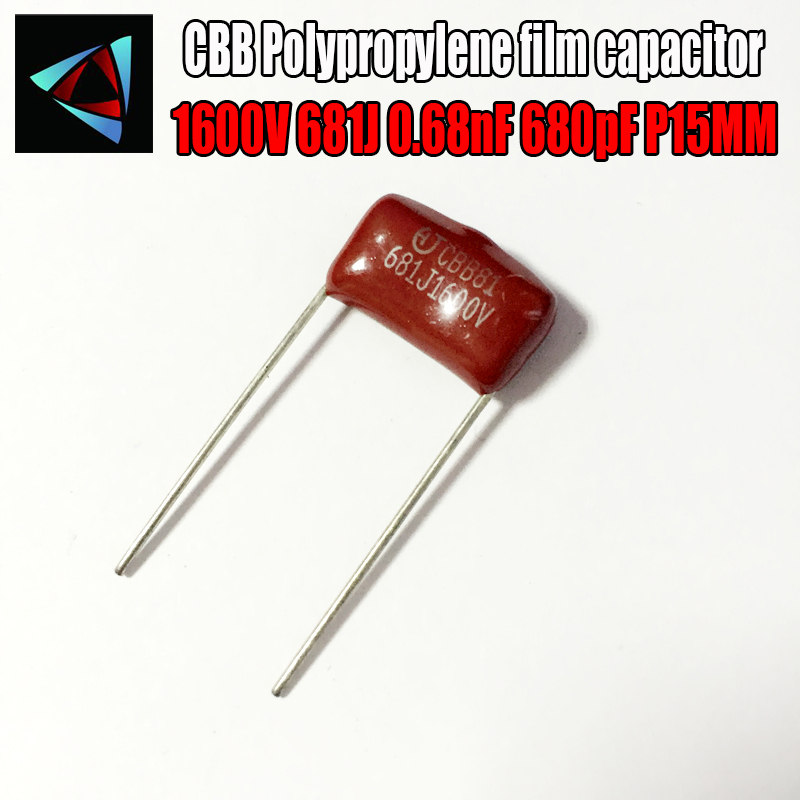 10PCS 1600V 681J 0.68nF 680pF P15 Polypropylene Film Capacitor Pitch 15mm