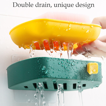 Double Layer Hanging Drain Soap Box Bathroom Wall-mounted Soup Draining Holder Saver With Small Hook