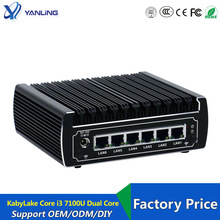 6 Ethernet Lan Fanless Pfsense Mini Pc Intel Kabylake Core I3 7100u DDR4 Ram AES-NI Linux Server Firewall Computer Voor venster 10