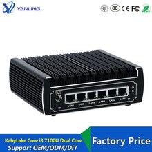 6 إيثرنت LAN بدون مروحة pfsense جهاز كمبيوتر صغير إنتل kabylake كور i3 7100u DDR4 رام AES NI لينكس خادم جدار الحماية الكمبيوتر لنافذة 10