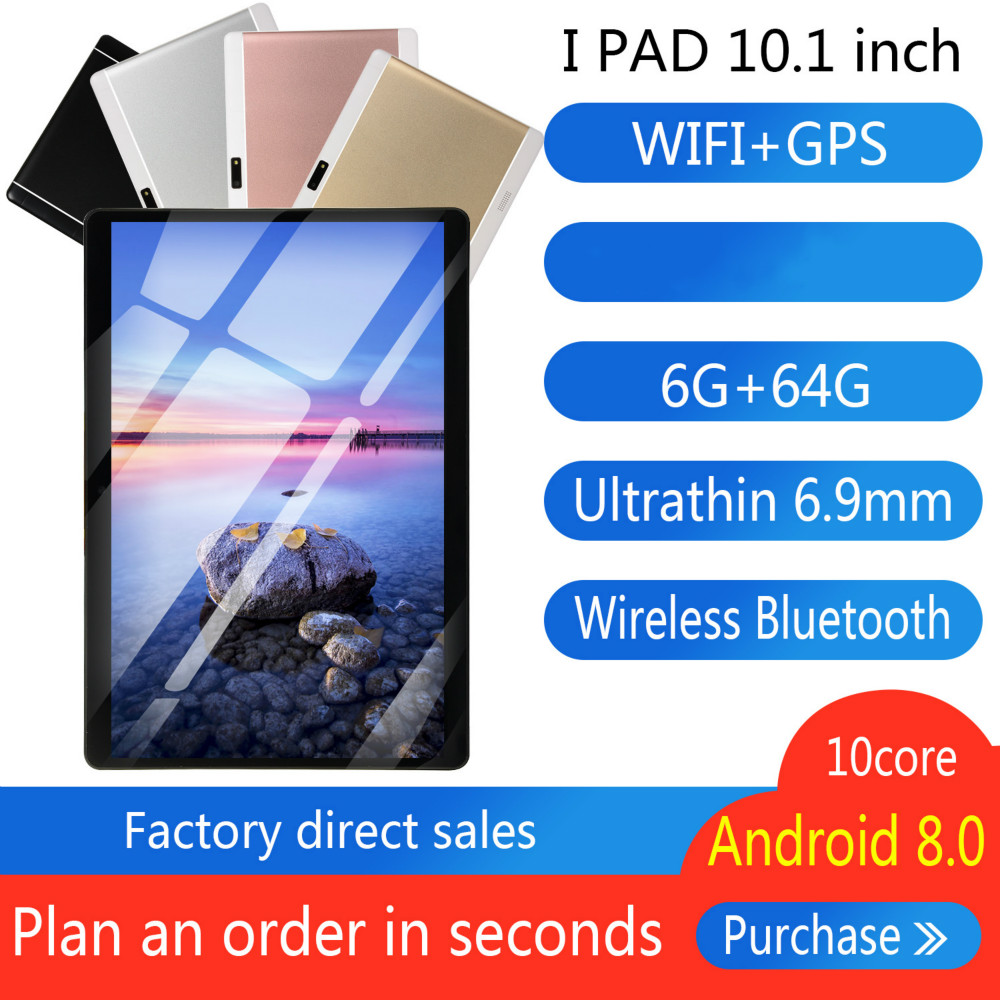 2020 10 Inch Octa Core 6G+64GB Android 8.0 WiFi Tablet PC Dual SIM Dual Camera Bluetooth MTK8752 4G WiFi Call Phone Tablet Gifts