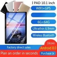 2020 10 Polegada Octa Núcleo 6G + 64GB Android 8.0 WiFi Tablet PC Dual SIM Dual Camera Bluetooth MTK8752 4G WiFi Phone Call Tablet Presentes