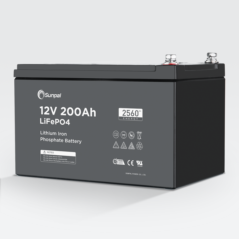 Sunpal Deep Cycle <font><b>12V</b></font> <font><b>200Ah</b></font> Lithium <font><b>Battery</b></font> With Bms <font><b>Charger</b></font> For Solar Power System image