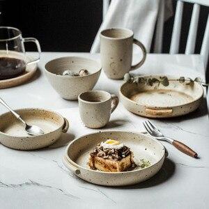 Керамическая тарелка для суши, бинауральный салат, фруктовое блюдо, миска рамен, чашка для кофе и молока, набор посуды, кухонные принадлежно...