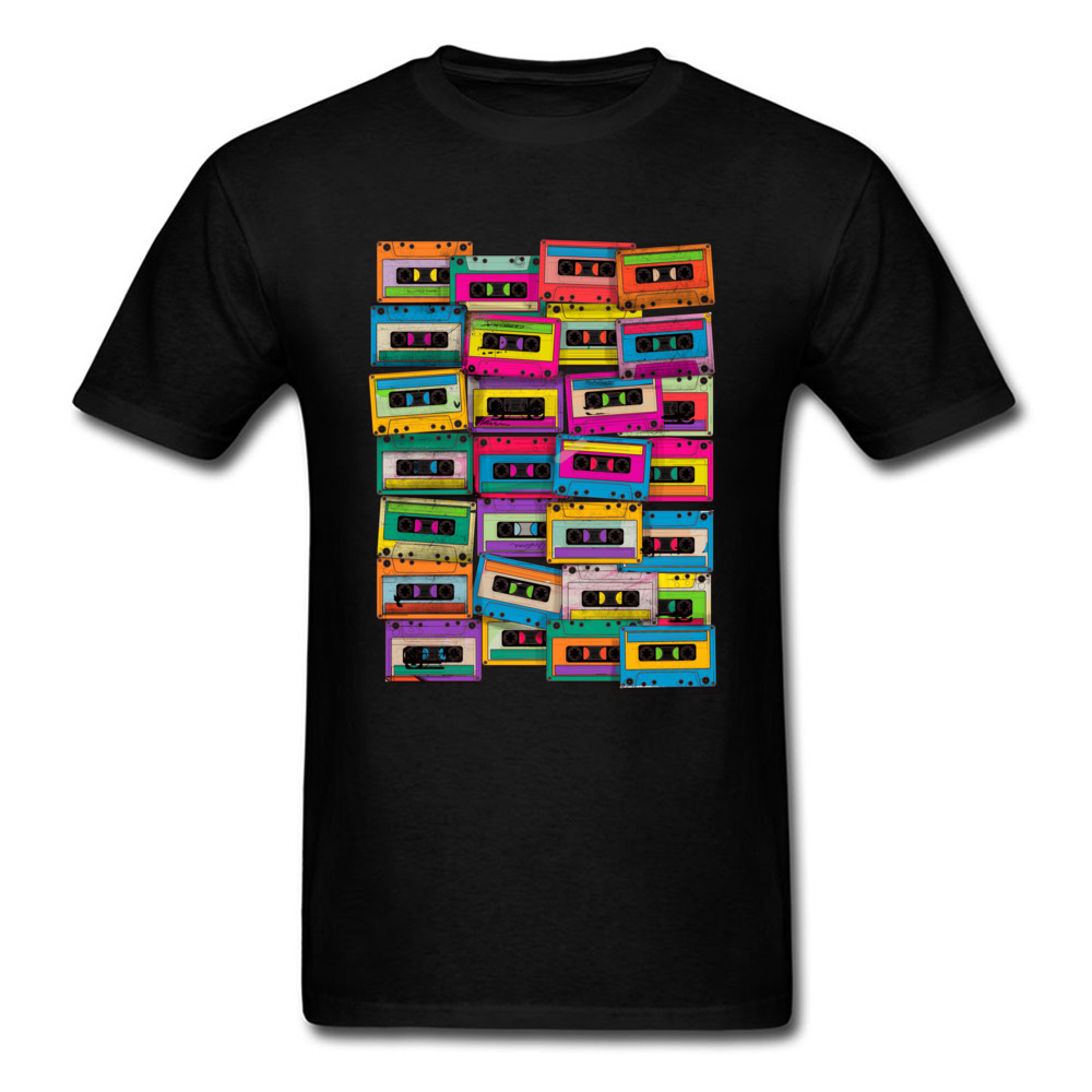 Retro T Shirt Men Neon Music Tape Cassette T-shirt Man Black Clothing Hip Hop Tee Cotton Tops Summer Band Tshirt Funky