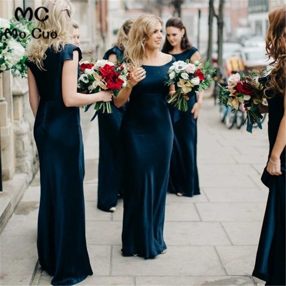 Mermaid Round Neck   Bridesmaid     Dresses   Long Wedding Party   Dress   Chiffon Pleat Floor Length Dark Blue   Bridesmaid     Dress