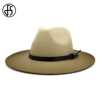 цена на FS 2020 New Gradient Color Men Wool Felt Fedora Hats Women Wide Brim Panama Cowboy Trilby Hat Party Elegant Jazz Cap Fashionable