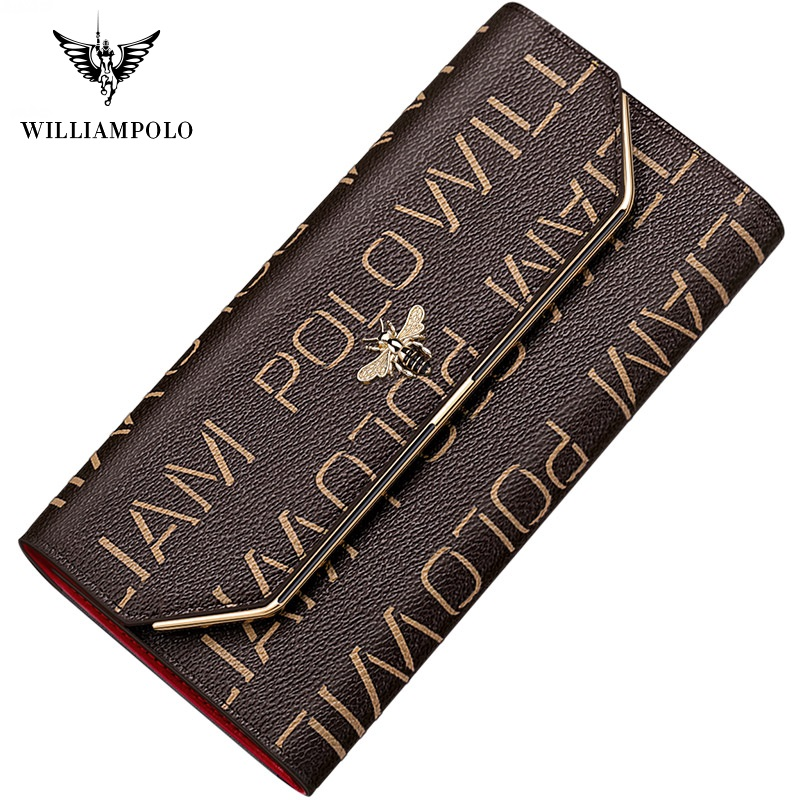 WilliamPolo Luxury Brand Leather Wallets Women Long Coin Purses Tassel Design Clutch Wallets Female Money Bag Credit Card image