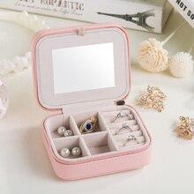 Fashion Womens Mini Jewelry Box Travel Makeup Organizer Faux Leather Casket With Zipper Cheap Classic Style Jewellery Case