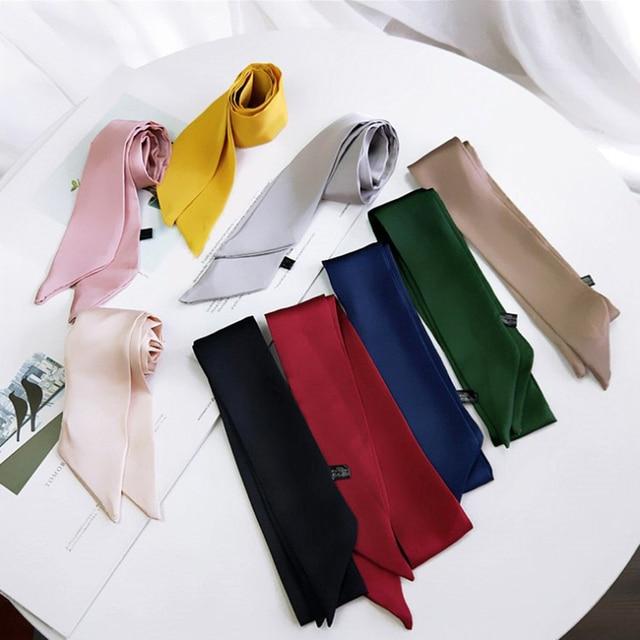 2020 Women Fashion Ribbon Silk Scarf Beautiful Solid Design Girls Neckerchief Hair Band Bag Handle Wraps Small Neck Scarves Hot