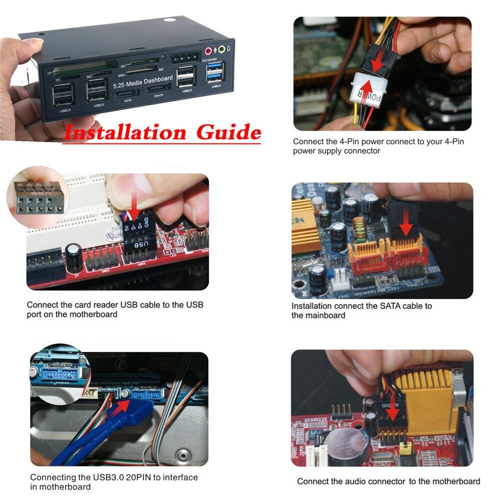 Компьютерный внешний кард-ридер 5,25 дюймов USB3.0 привод отсек SD TF кард-ридер SATA USB концентратор аудио Передняя панель медиа приборная панель COD