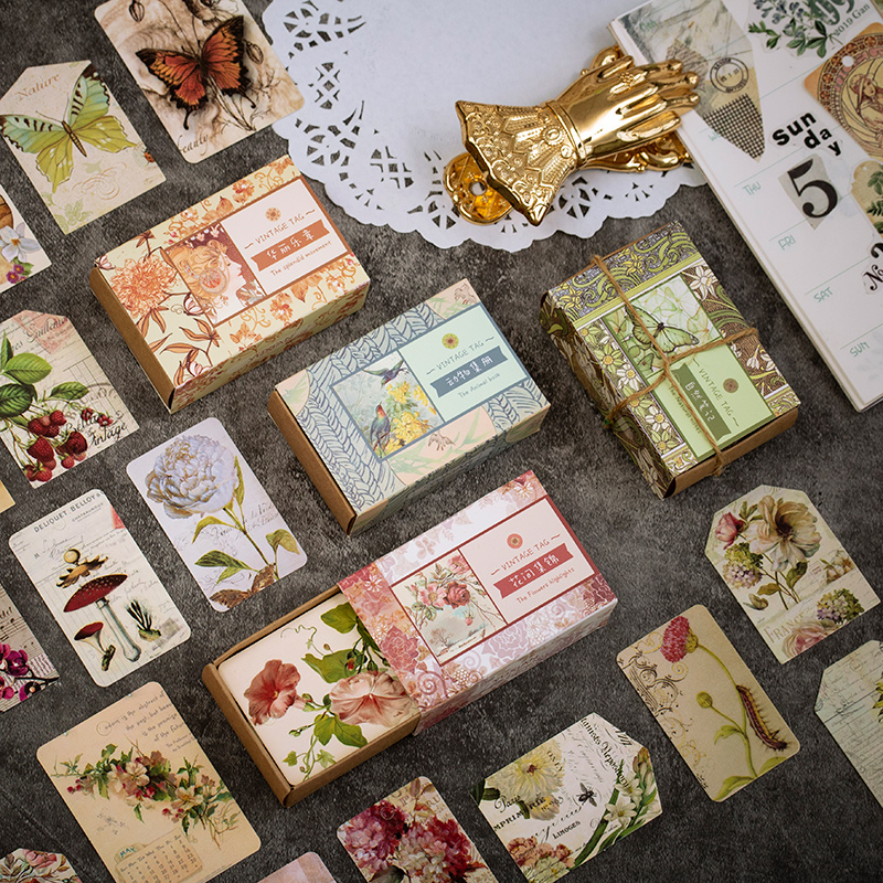 50 Pcs/lot Vintage Plant Flower Tag Kraft Paper Sticky Notes Memo Pad Diary Stationary Flakes Scrapbook Decorative Message Card
