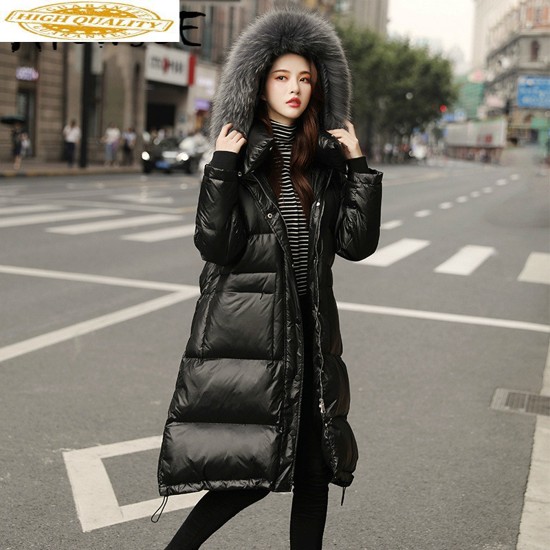 Jacket Women White Duck Down Coat Winter Coat Women Real Raccoon Dog Fur Collar Warm Parka Women Puffer Jacket 9623 YY1541